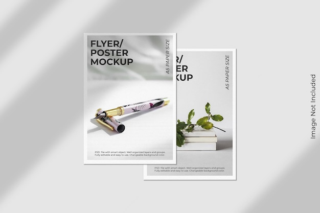 Realistic flyer brochure mockup with shadow overlay