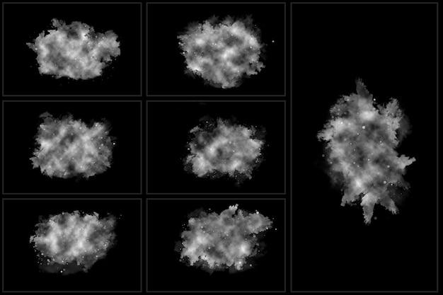 Realistic fog set of isolated stem fog clouds