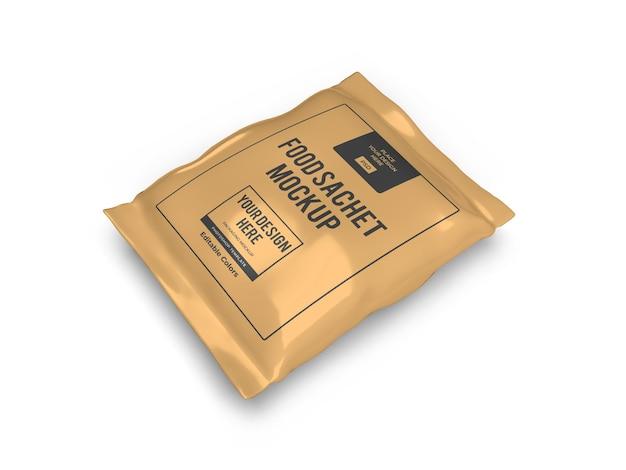 分離された現実的な食品小袋包装モックアップテンプレート