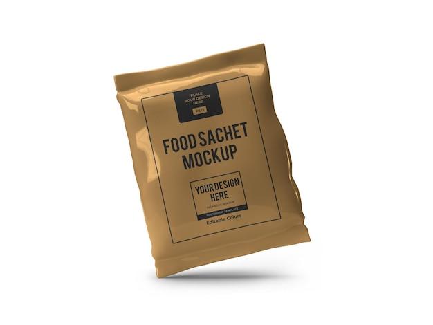 Реалистичный шаблон макета упаковки саше для пищевых продуктов