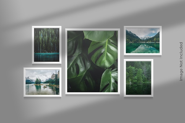 Realistic frames mockup hanging on wall with shadow overlay