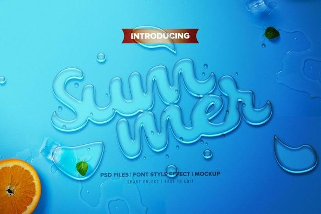 Realistic fresh liquid summer font effect