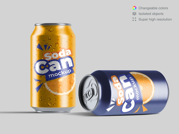 Realistic front view aluminium soda cans with water drops mockup template