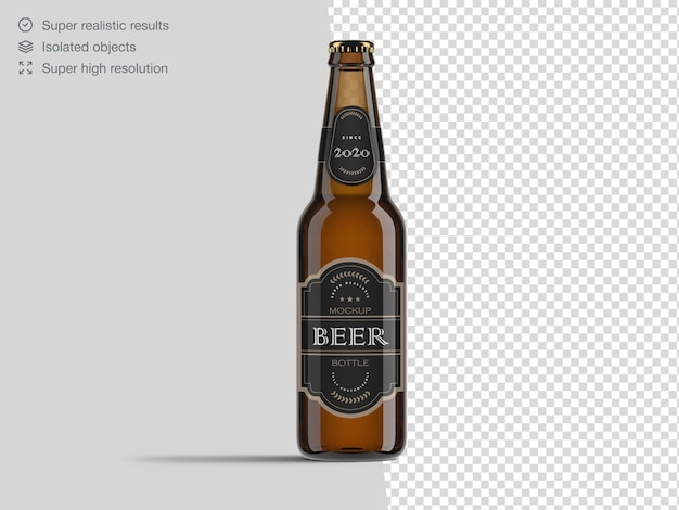 Realistic front view beer bottle mockup template