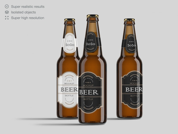 Realistic  front view beer bottles mockup template