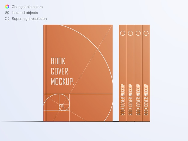 Realistic front view book hardcovers mockup