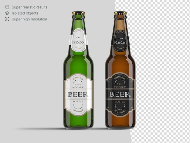Realistic front view brown and green glass beer bottle mockup template