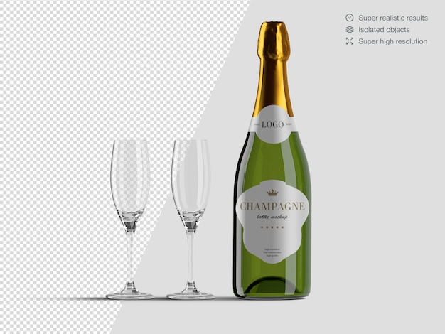 Realistic front view champagne bottle mockup template with glasses