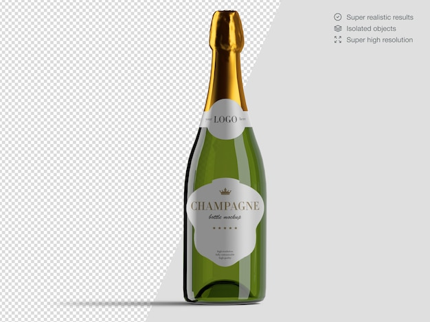 Realistic front view champagne bottle mockup template