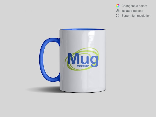 Realistic front view classic ceramic mug mockup template