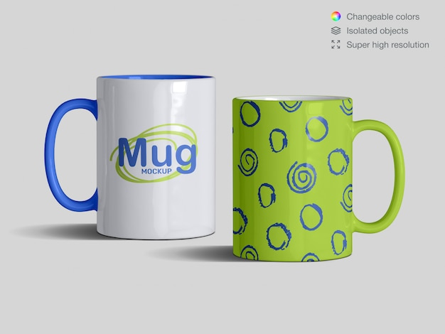 Realistic front view classic ceramic mugs mockup template