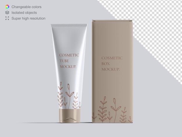 Реалистичный вид спереди косметическая кремовая трубка и макет упаковки косметической коробки
