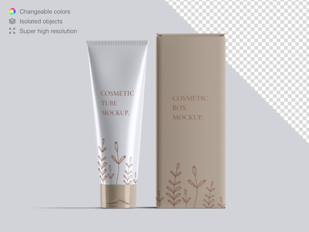 Realistic front view cosmetic cream tube and cosmetic box packaging mockup