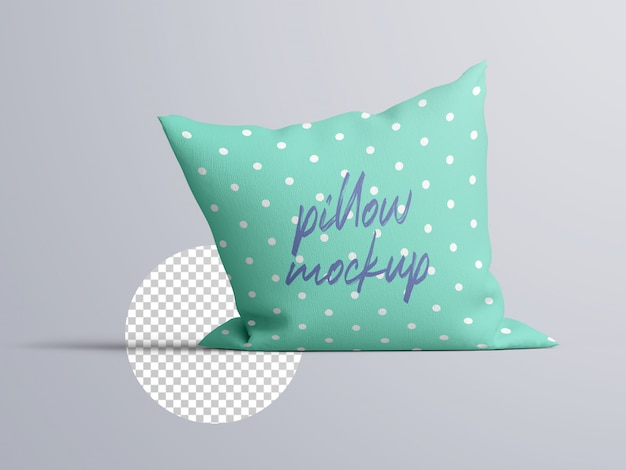 Реалистичный вид спереди тканевая подушка, макет подушки