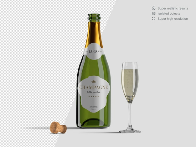 Realistic front view opened champagne bottle mockup template with glass and cork