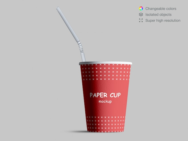 Realistic front view paper cup mockup with cocktail straw