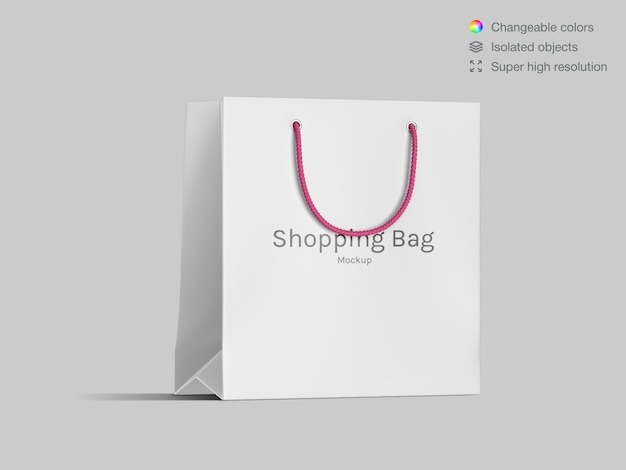 Realistic front view shopping paper bag mockup template