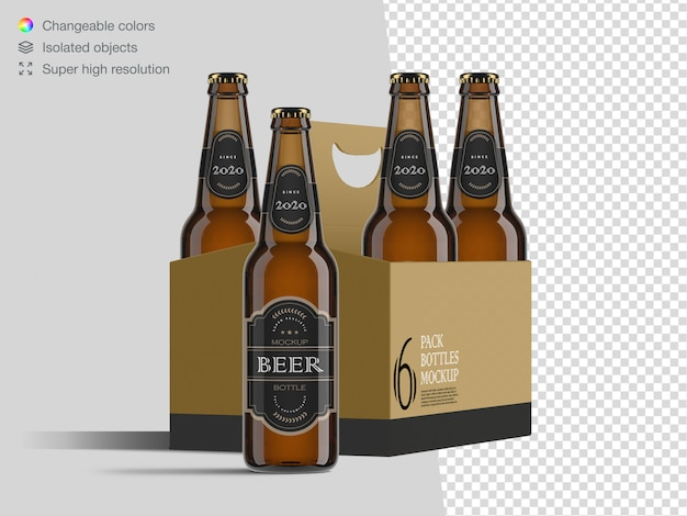 Realistic front view six pack beer bottle label mockup template