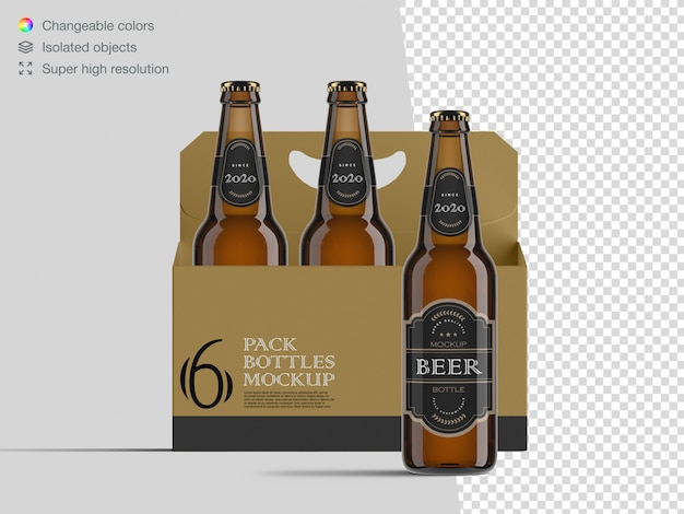 Realistic front view six pack beer bottle mockup template