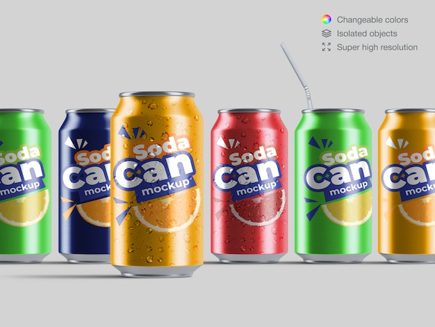 Realistic front view variety of aluminium soda cans mockup template