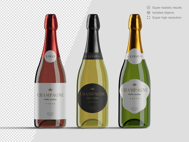 Realistic front view variety of champagne bottles mockup template