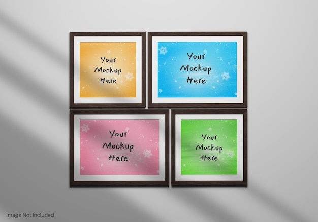 Realistic gallery photo frames mockup hanging on wall with shadow