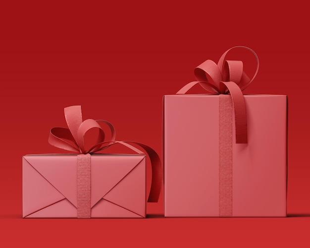 Реалистичный макет подарочной коробки с лентой
