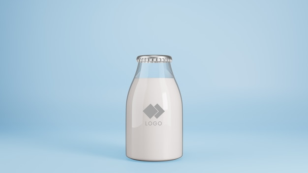 Realistic glass bottle of milk mockup