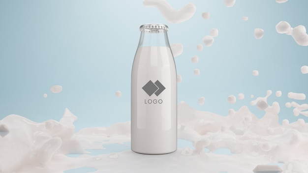 Realistic glass bottle of milk with splashing liquid