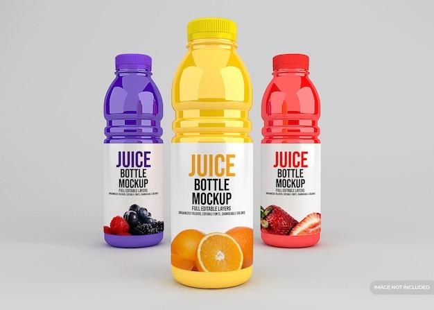 Realistic glass juice bottle packaging mockup