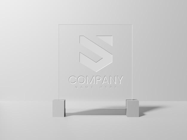 リアルなglassロゴのモックアップ