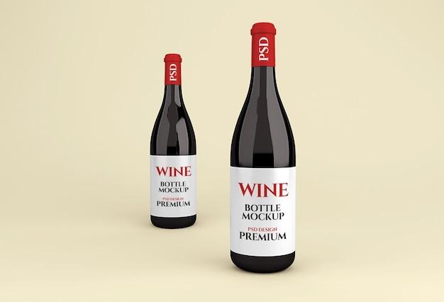 Реалистичный макет стеклянной бутылки красного вина