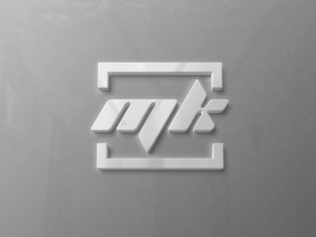 Realistic glossy 3d logo mockup on wall