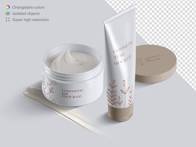 Реалистичная глянцевая косметическая кремовая туба и упаковка для кремовой банки с кремовым мазком