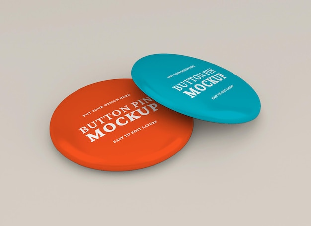 Realistic glossy pin or badge mockup