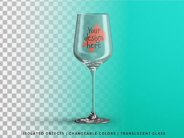 Realistic glossy wine glass mockup isolated