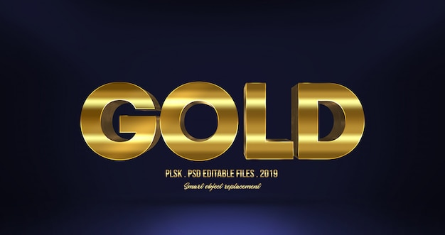 Realistic gold 3d text effect