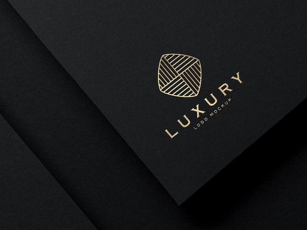 Realistic gold embossed luxury logo mockup