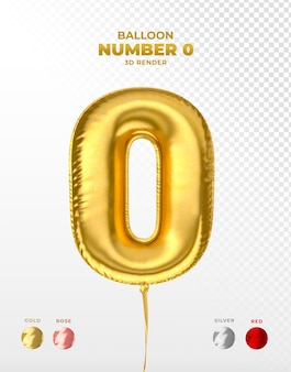 Realistic gold foil balloon of number 0 cut off