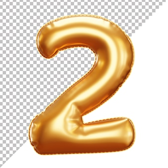 Realistic gold foil balloon of number 2 cut off background