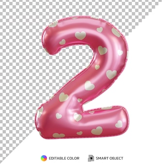 Realistic gold foil balloon of number 2 cut out Premium Psd