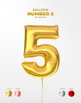 Realistic gold foil balloon of number 5 cut off