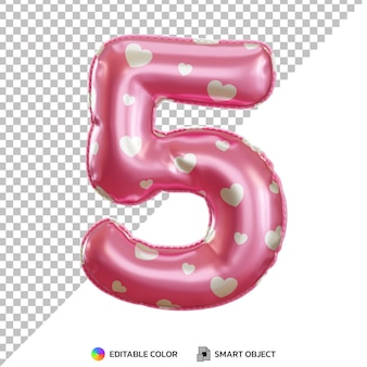 Realistic gold foil balloon of number 5 cut out Premium Psd