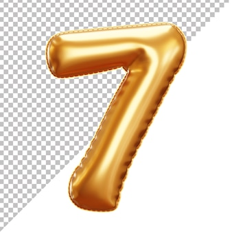 Realistic gold foil balloon of number 7 cut off background