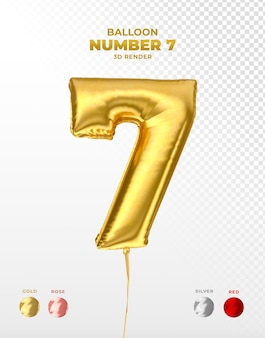 Realistic gold foil balloon of number 7 cut off