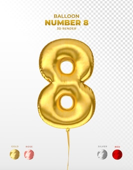Realistic gold foil balloon of number 8 cut off