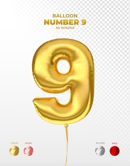 Realistic gold foil balloon of number 9 cut off