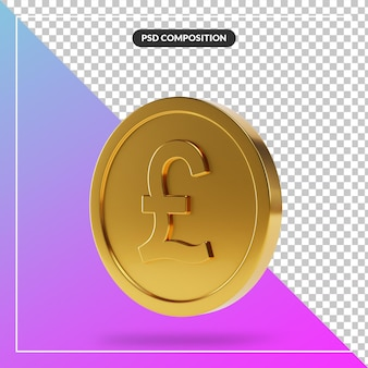 Realistic golden british pound coin in 3d render isolated