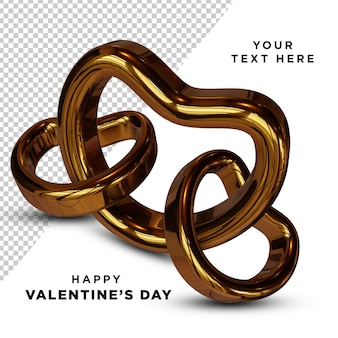 Realistic golden love ring 3d rendering isolated
