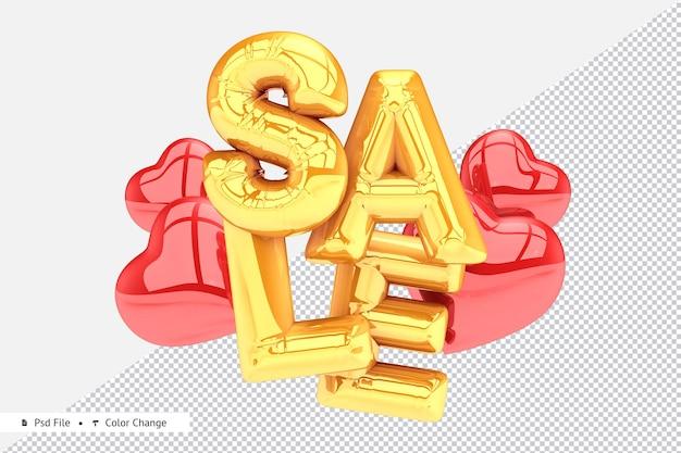 Реалистичная золотая распродажа с сердечками из воздушных шаров 3d-рендеринга